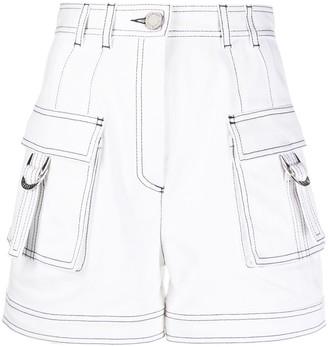 Balmain Contrast Stitch Cargo Shorts