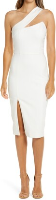Lavish Alice One-Shoulder Front Slit Cocktail Dress