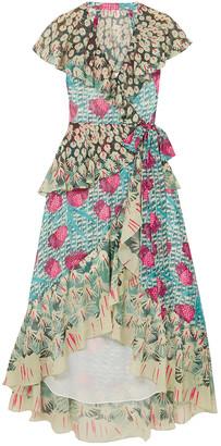Temperley London Ruffled Printed Jacquard Midi Wrap Dress