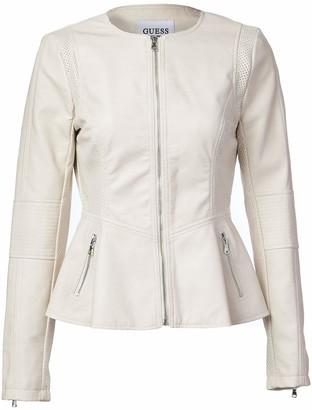 GUESS Women's Ladies Peplum Hem Faux Leather Jacket