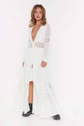 Nasty Gal Womens Boho Lace Button Down Maxi Dress - Tan - 8