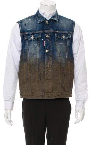 DSQUARED2 Coated Denim Vest w/ Tags