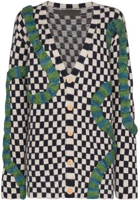 The Elder Statesman Contrast Braid Checkered Cardigan