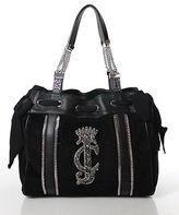 Juicy Couture Black Velvet Silver Tone Chain Detail Tote Handbag NEW $278