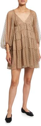 STAUD Meadow Polka-Dot Mini Dress
