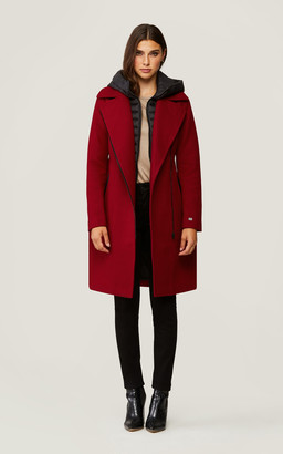 Soia & Kyo PERLE mixed media coat with removable bib and hood