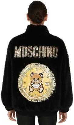 Moschino LOGO PRINTED FAUX FUR JACKET