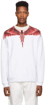 Marcelo Burlon County of Milan White and Red Ghost Wings Sweatshirt