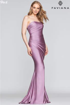Faviana Stretch Satin Gown