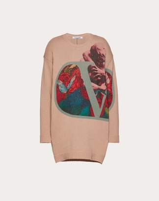 Valentino Undercover Print Wool And Cashmere Jumper Women Pink Virgin Wool 70%, Cashmere 30% S