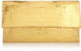 Nancy Gonzalez Metallic Crocodile Clutch - Gold