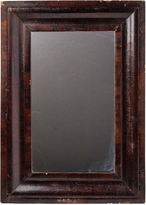 Rejuvenation Nicely Aged Victorian Mirror w/ Mahogany Veneer c1880
