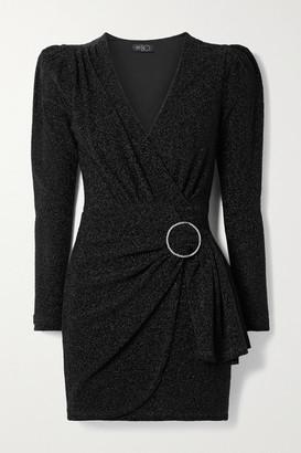 PatBO Wrap-effect Crystal-embellished Lurex Mini Dress - Black