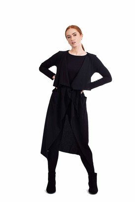 Verso Fashion Womens Ladies Maxi Long Sleeve Waterfall Belted Duster Coat Jacket (S/M (UK 8-10)