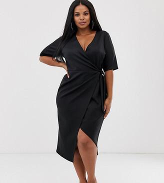 Asos DESIGN Curve clean midi wrap dress