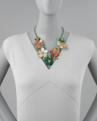 Nakamol Iridescent Beaded Flower Necklace