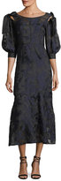Rebecca Taylor Short-Sleeve Floral-Jacquard Organza Dress