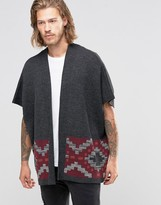 Asos Knitted Poncho with Geo-Tribal Design