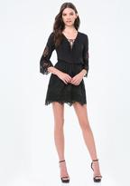 Bebe Camilla Voile & Lace Dress