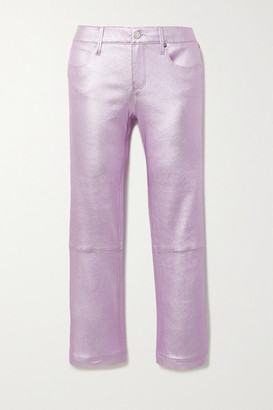 RtA Kiki Cropped Metallic Leather Flared Pants - Violet