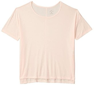 Nike Plus Size Yoga Layer Short Sleeve Top (Washed Coral/Pink Quartz) Women's Clothing