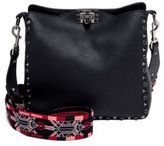 Valentino Small Rockstud Love Blade Guitar-Strap Leather Hobo Bag