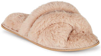 INC International Concepts Inc Women Faux-Fur Crossband Slippers