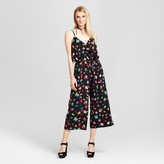 Notations Women's Printed Woven Jumpsuit with Ruffle Front