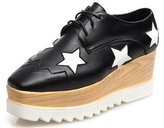 DADAWEN Women's Fashion Star Square-toe Lace-up Platform Wedge Oxford Shoes - 6.5 US