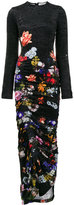 Preen by Thornton Bregazzi velvet ruched floral maxi dress