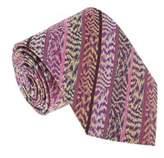 Missoni U4305 Pink/purple Flame Stitch 100% Silk Tie.