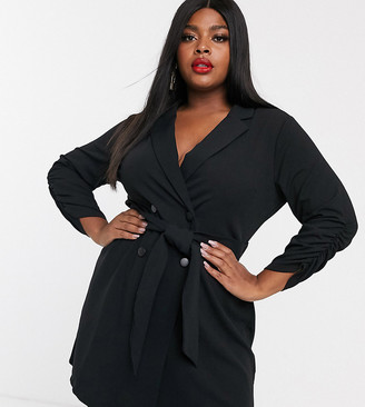 Simply Be tie waist tux dress in black