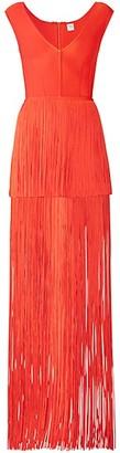 Herve Leger Tiered Fringe V-Neck Cap Sleeve Gown