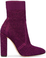 Gianvito Rossi Isa Bouclé-knit Ankle Boots - Plum