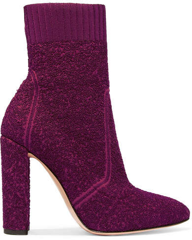 Gianvito Rossi Isa 110 Bouclé-knit Ankle Boots - Plum
