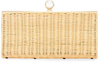Pamela Munson The Pearl Woven Rattan Clutch Bag