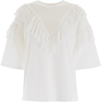 See by Chloe Fringed Lace Panelled Top