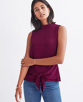 Ann Taylor Mixed Media Tie Waist Mock Neck Shell Top