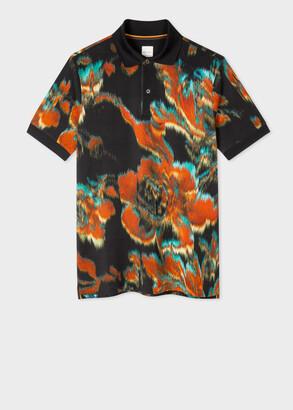 Paul Smith Men's Navy 'Disrupted Rose' Print Polo Shirt