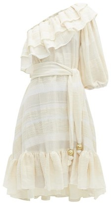 Lisa Marie Fernandez Arden Ruffled One-shoulder Cotton Dress - Womens - Cream Stripe