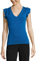 WORTHINGTON Worthington V- Neck Ruffle Sleeve Top