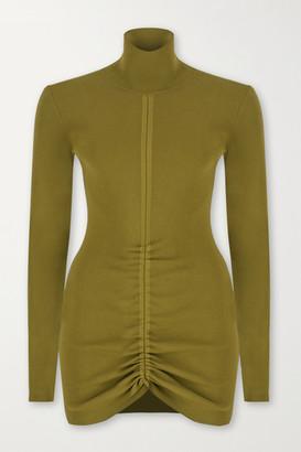 ZEYNEP ARCAY Ruched Ribbed-knit Turtleneck Mini Dress - Army green