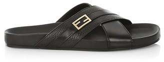 Fendi Crossover Strap Slide Sandals