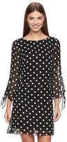 MSK Women's Chiffon Polka-Dot Shift Dress