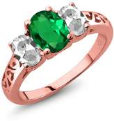 Gem Stone King 2.00 Ct Oval Green Simulated Emerald White Topaz 18K Rose Gold Plated Silver 3-Stone Ring