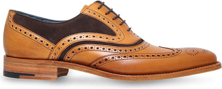 Barker McClean leather and suede Oxford brogue