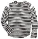 Aqua Girls' Striped Cold Shoulder Top - Sizes S-XL