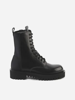 Valentino Black Leather Combat Boots