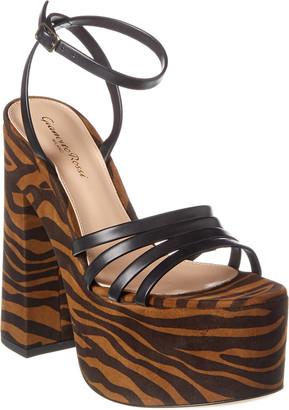 Gianvito Rossi Ursula 150 Suede & Leather Platform Sandal