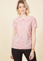 ModCloth Play Tell Collared Top in Umbrellas in 8 (UK)